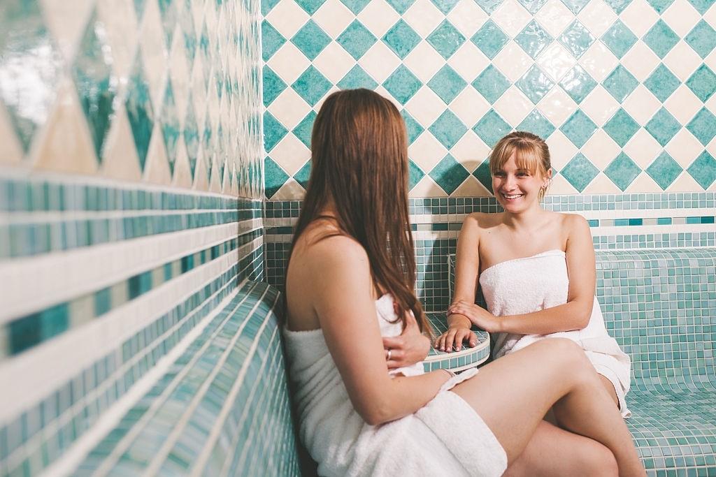 Girls in the sauna at a health spa